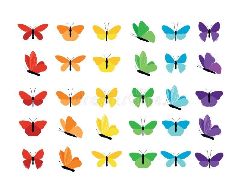 Ställ in av den färgrika våren och sommar för fjärilskontursamling med olika former av vingar Isolerat på vit royaltyfri illustrationer