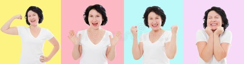 Ställ in av den förvånade chockade upphetsade asiatiska kvinnaframsidan som isoleras på färgrik bakgrund Mellersta ålder som är k royaltyfri bild