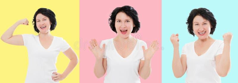 Ställ in av den förvånade chockade upphetsade asiatiska kvinnaframsidan som isoleras på färgrik bakgrund Mellersta ålder som är k royaltyfri foto