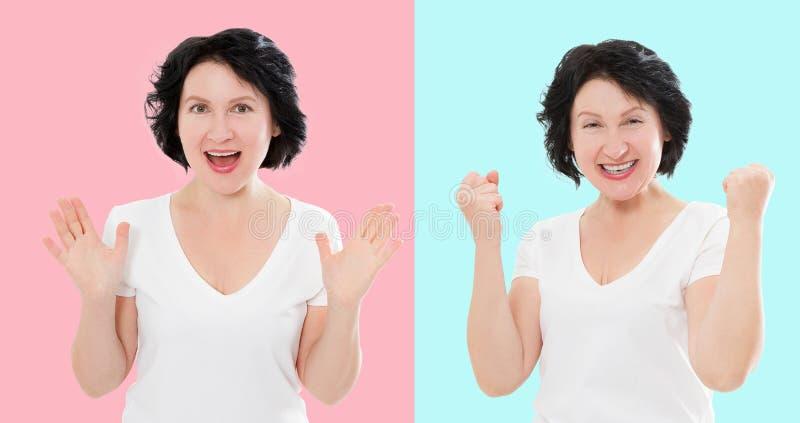 Ställ in av den förvånade chockade upphetsade asiatiska kvinnaframsidan som isoleras på färgrik bakgrund Mellersta ålder som är k royaltyfria foton