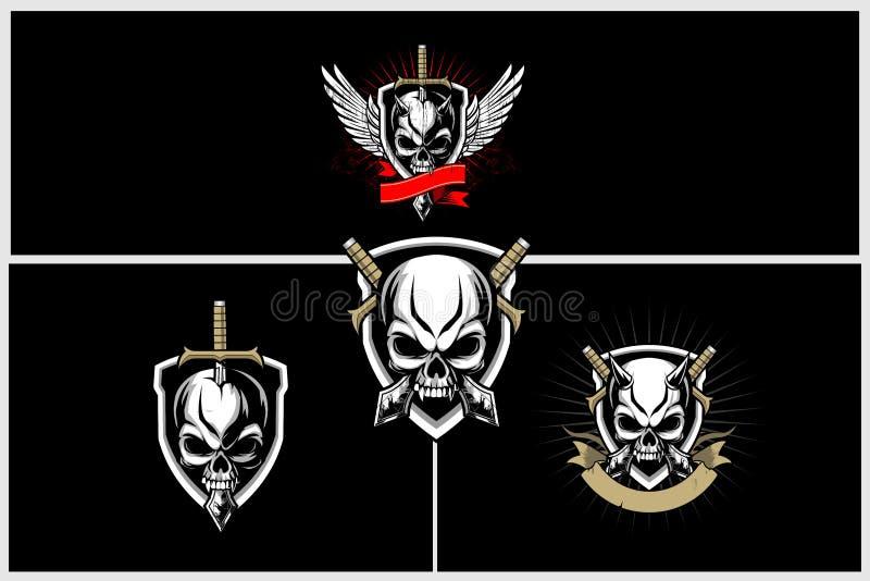 Ställ in av den fantastiska och unika onda skallen med svärd- och sköldvektorn royaltyfri illustrationer
