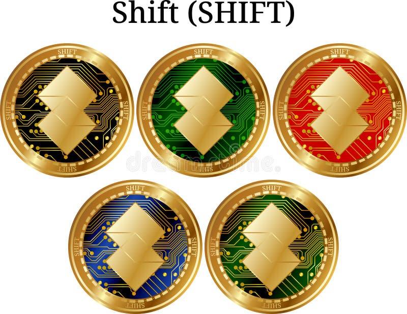 Ställ in av den fysiska guld- myntförskjutningen (FÖRSKJUTNINGEN) royaltyfri illustrationer