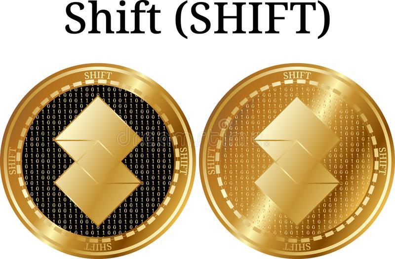 Ställ in av den fysiska guld- myntförskjutningen (FÖRSKJUTNINGEN) vektor illustrationer