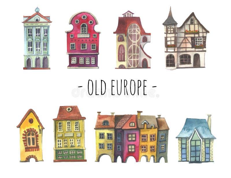 Ställ in av den gamla europeiska husvattenfärghanden dragit stock illustrationer
