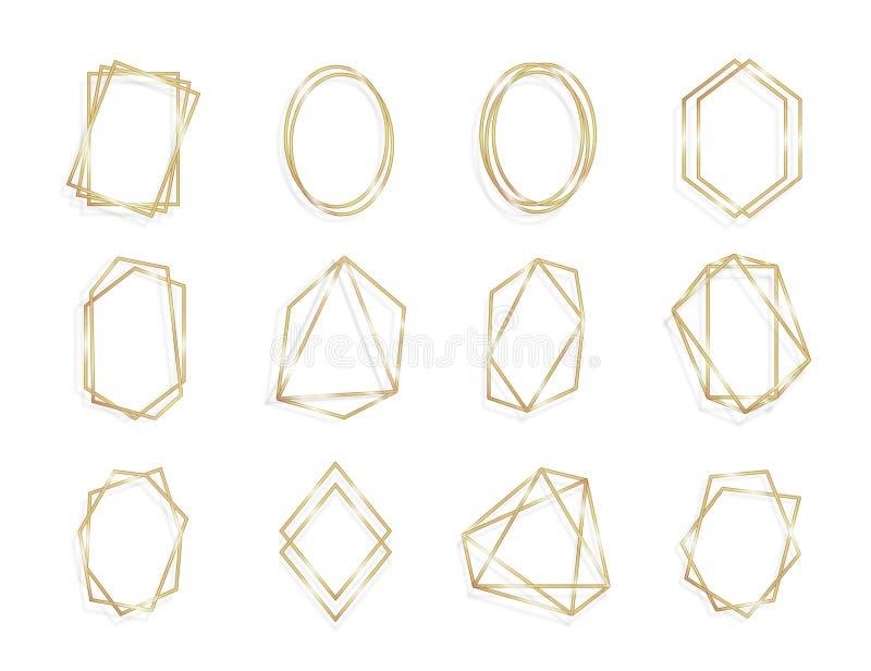Ställ in av den geometriska guld- linjen konst för bakgrund för raminbjudan kort isolared stock illustrationer