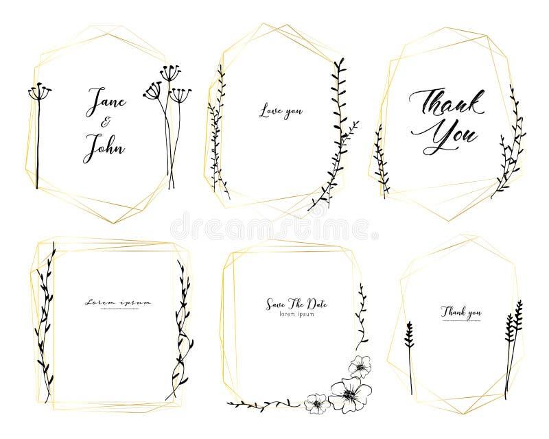 Ställ in av den geometriska ramen, utdragna blommor för handen, botanisk sammansättning, den dekorativa beståndsdelen för bröllop royaltyfri illustrationer