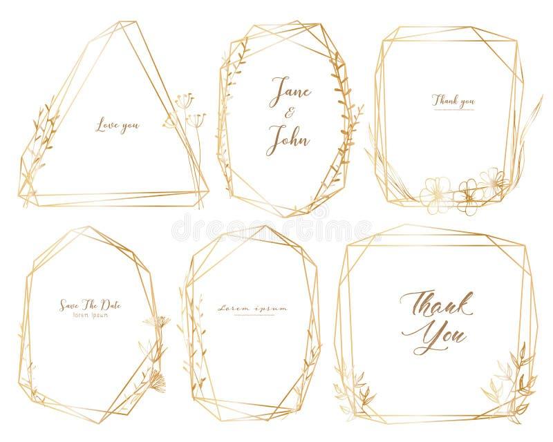 Ställ in av den geometriska ramen, utdragna blommor för handen, botanisk sammansättning, den dekorativa beståndsdelen för bröllop vektor illustrationer