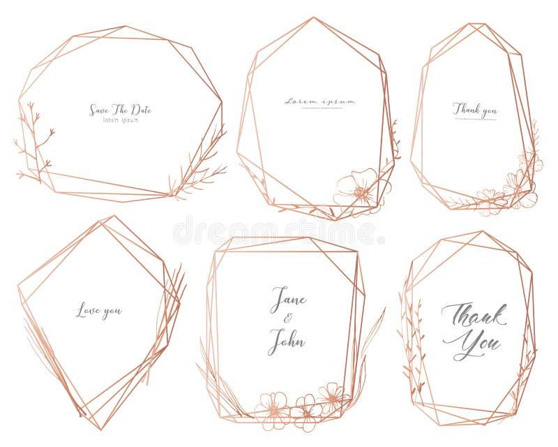 Ställ in av den geometriska ramen, utdragna blommor för handen, botanisk sammansättning, den dekorativa beståndsdelen för bröllop stock illustrationer