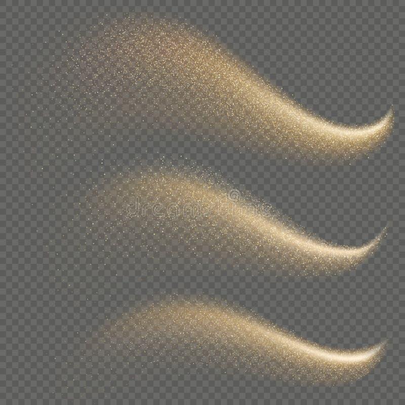 Ställ in av den guld- mousserande blänka komet med stardustslingan Utrymme mousserar stjärnasvansen 10 eps vektor illustrationer