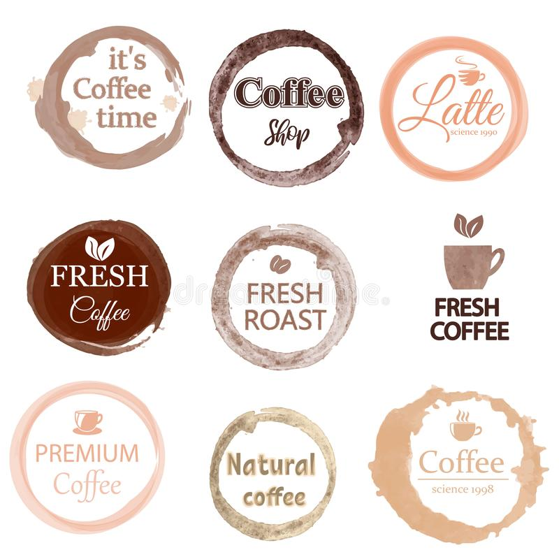 Ställ in av den gulliga och användbara mallen för coffee shop, kafémenyn, restaurangen och stången som isoleras på vit bakgrund royaltyfri illustrationer