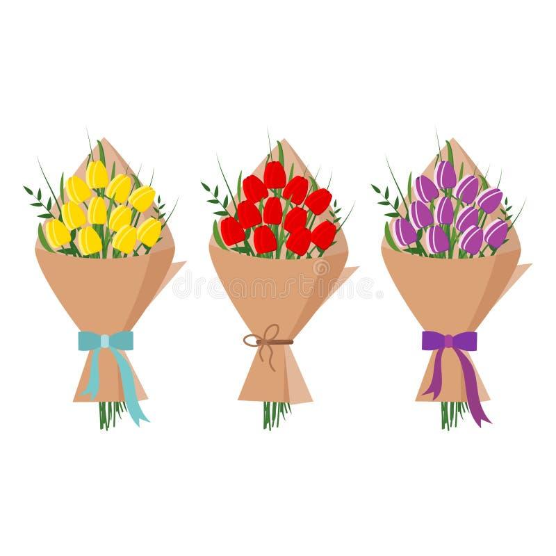 Ställ in av den härliga buketten av gula, röda purpurfärgade tulpan i att förpacka för kraft papper som isoleras på vit bakgrund, royaltyfri illustrationer