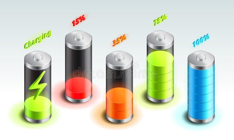 Ställ in av den isometriska symbolen för batteriladdningen, ackumulatorindikator, från full laddning till den urladdnings isometr stock illustrationer