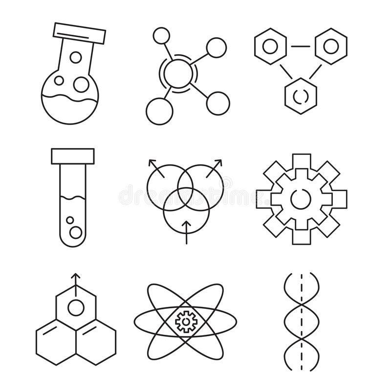 Ställ in av den kemiska symbolen, illustration för vektor för översikt för kemilabb royaltyfri illustrationer