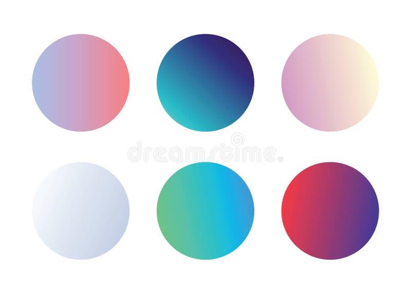 Ställ in av den mjuka holographic kameleontpaletten av att skimra färger vektor illustrationer