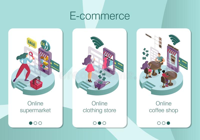 Ställ in av den mobila appsidadesignen, skärmuppsättning på e-kommers tema royaltyfri illustrationer