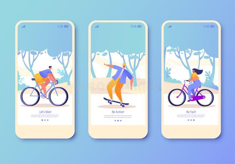 Ställ in av den mobila appsidan, skärmuppsättning på sunt livsstiltema Aktiva folksportar vektor illustrationer
