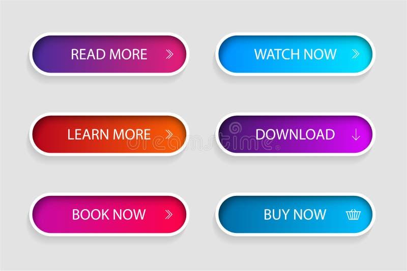 Ställ in av den moderiktiga handlingknappen för rengöringsduk, mobil app Meny för mallnavigeringknapp Lutningsymbolen för shoppar vektor illustrationer