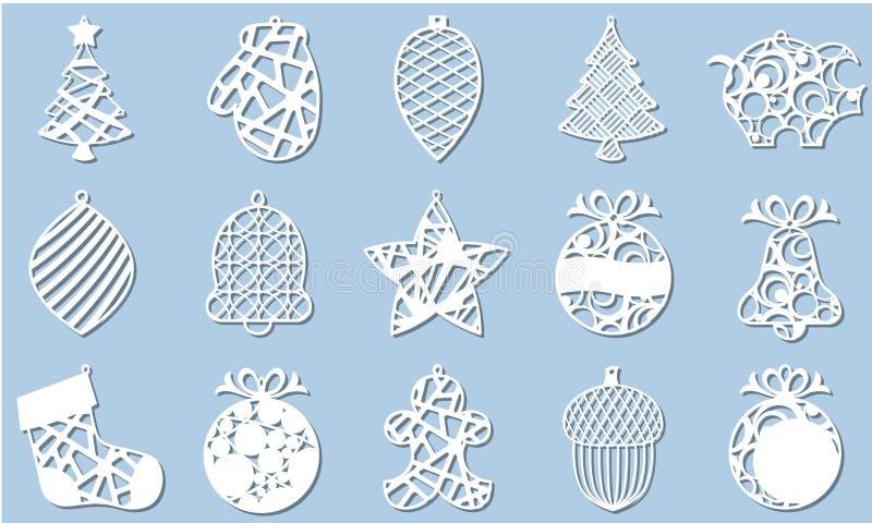 Ställ in av den moderna julgranen Nytt års leksak för laser-klipp också vektor för coreldrawillustration royaltyfri illustrationer