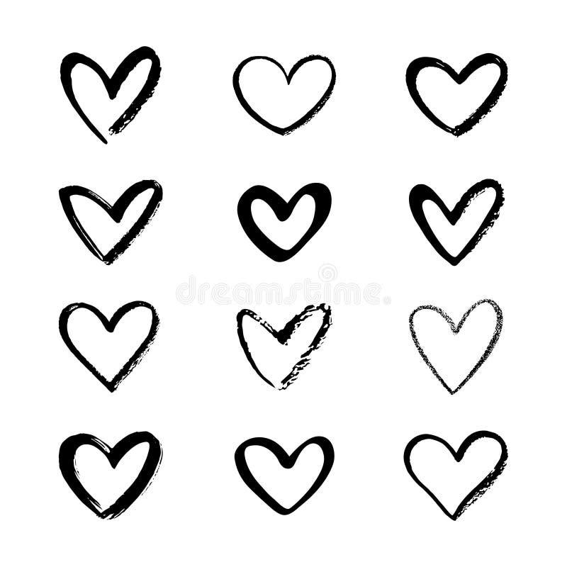 Ställ in av den olika borsten, krita, den utdragna linjen hjärtaformer för markören, stock illustrationer