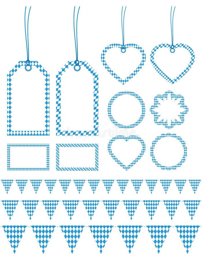 Ställ in av den olika etiketten och girlander Oktoberfest Diamond Pattern stock illustrationer