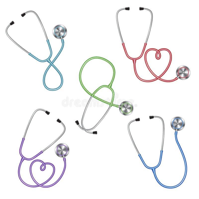 Ställ in av den olika färgstetoskopsymbolen, medicinsk utrustning stock illustrationer