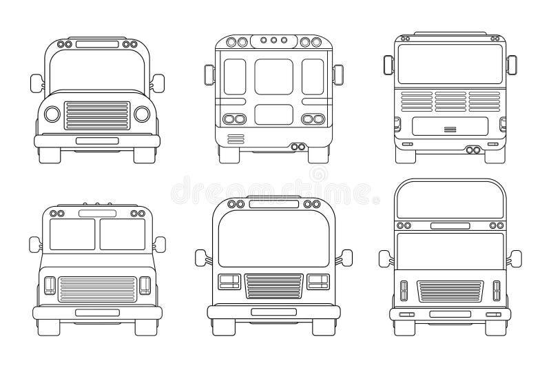 Ställ in av den olika stadsbussen Framdel- och baksidasikt Översiktsvektorillustration som isoleras på vit stock illustrationer