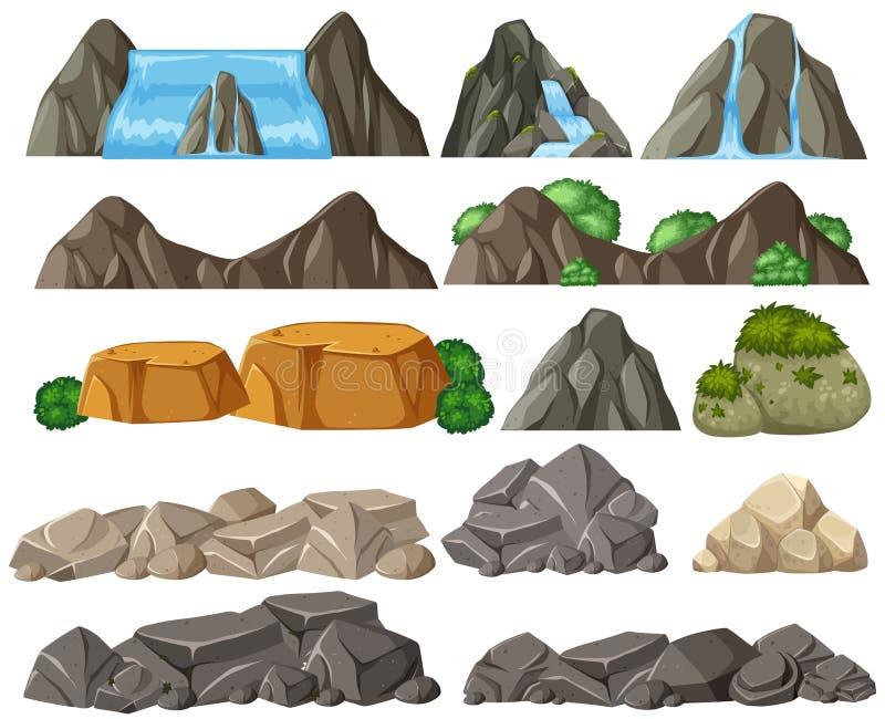 Ställ in av den olika stenen vektor illustrationer