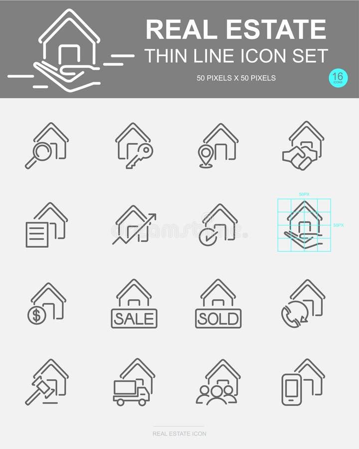 Ställ in av den Real Estate vektorlinjen symboler Inkluderar huset, pengar, affären, finans och mer royaltyfri illustrationer