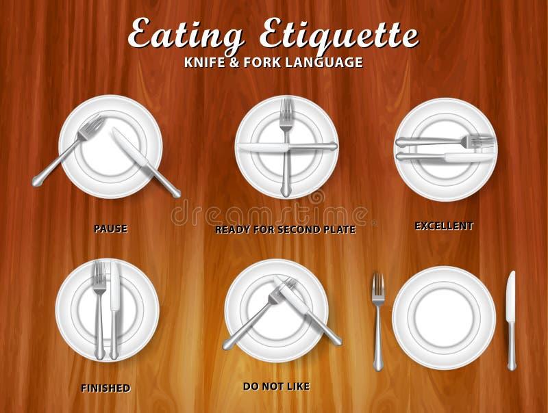 Ställ in av den realistiska knivgaffel och skeden, i att äta etikett, i matställebegrepp royaltyfri bild
