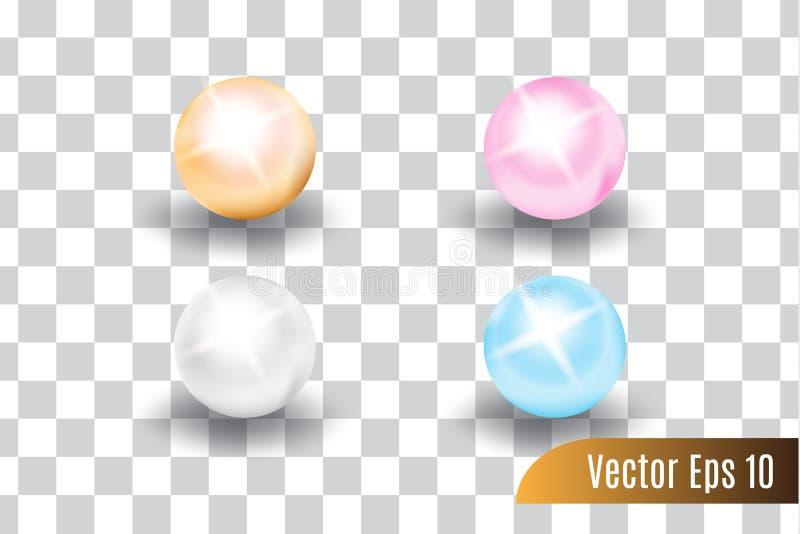 St?ll in av den realistiska vektorn 3d f?rgrikt av p?rlor stock illustrationer