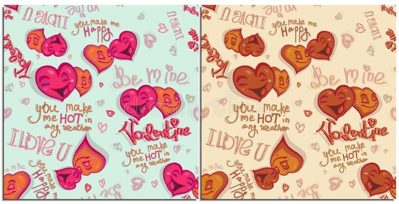 Ställ in av den sömlösa modellen för diagram för lycklig valentindag Fallande förälskad bokstäver för lyckliga ljusa tecknad film stock illustrationer