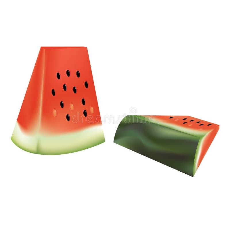 Ställ in av den skivade vattenmelon som isoleras på vit bakgrund vektor illustrationer