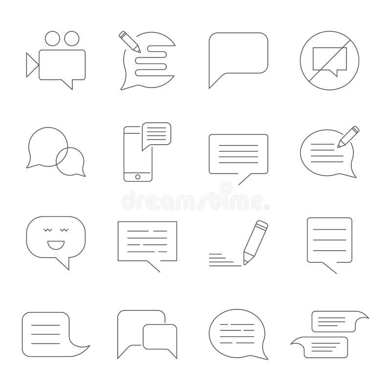 Ställ in av den släkta vektorlinjen symboler för meddelandet SMS, pratstund, meddelande, videopp mm för anförande och annan vektor illustrationer