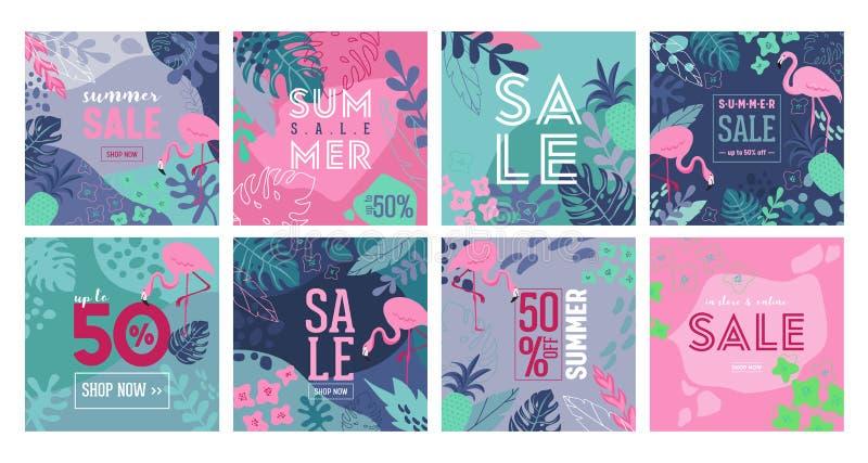 Ställ in av den sommarSale affischen med vändkretssidor, blommor, flamingo, annonseringbanret och tropisk bakgrund i modern lägen vektor illustrationer