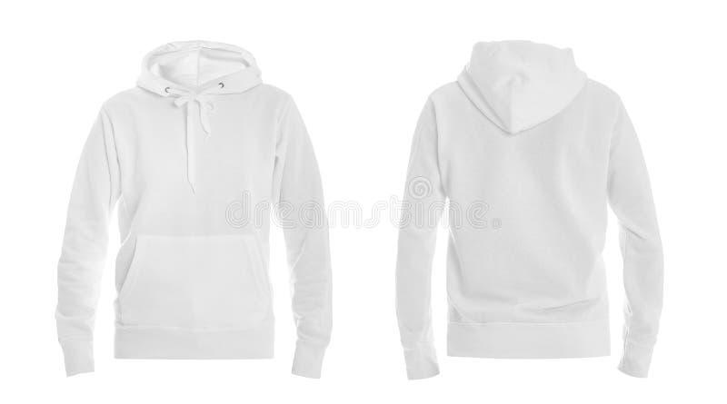 Ställ in av den stilfulla hoodietröjan på den vita bakgrunds-, framdel- och baksidasikten arkivfoton