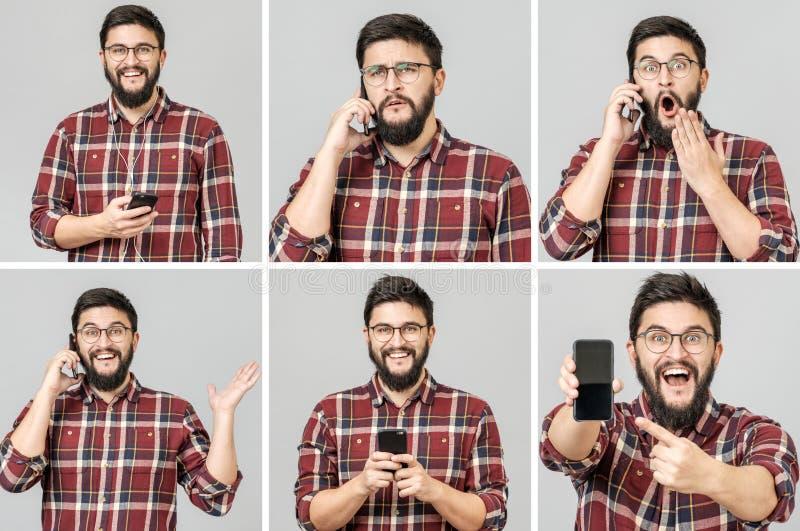 Ställ in av den stiliga emotionella mannen som använder mobiltelefonen arkivfoto