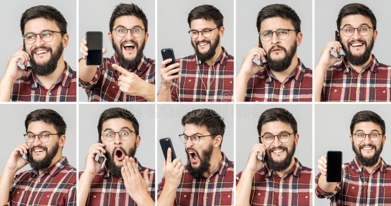 Ställ in av den stiliga emotionella mannen som använder mobiltelefonen royaltyfri foto