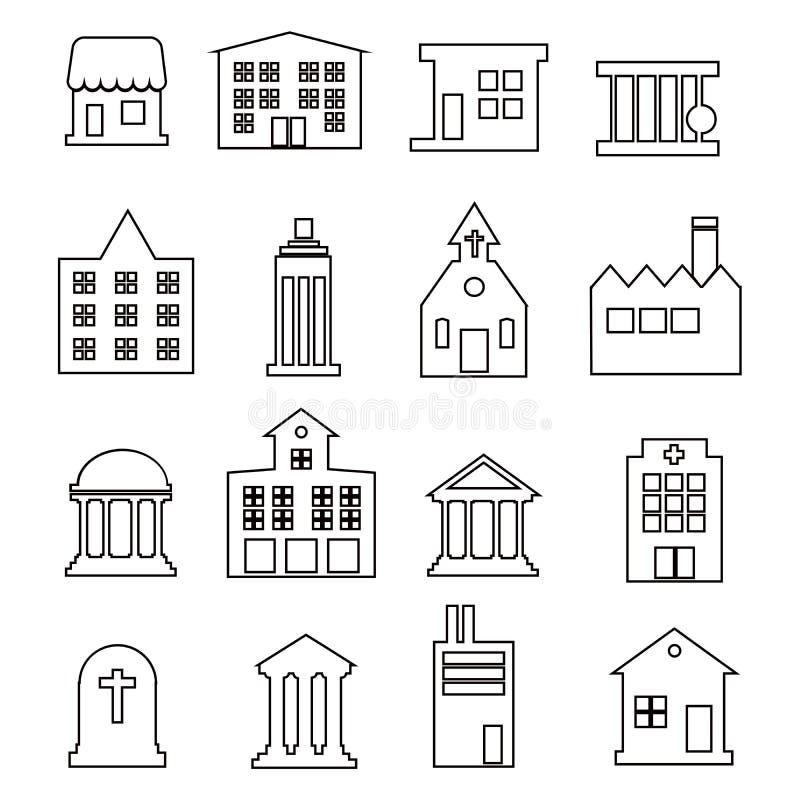 Ställ in av den tunna linjen symboler för fastigheten och för hem Innehåller symboler som område, handinnehavtangent, smart hem,  stock illustrationer