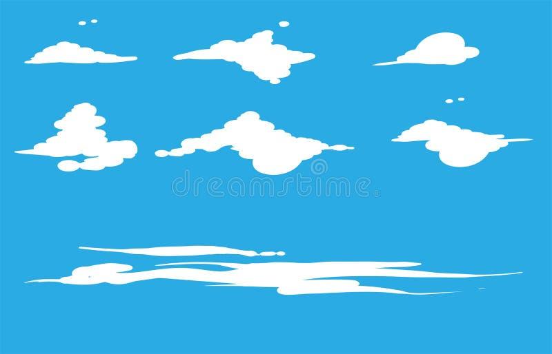 Ställ in av den vita illustrationen för molnvektordesignen som isoleras på blå himmel Molnsymbol p? bl? bakgrund stock illustrationer