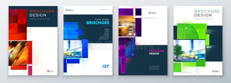 Ställ in av design för orientering för broschyrräkningsmall ?rsrapport f?r f?retags aff?r, katalog, tidskrift, reklambladmodell royaltyfri illustrationer