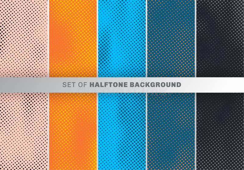 Ställ in av design för prickmodell på apelsinen, blå svart bakgrund Samling för prickdesigntapet royaltyfri illustrationer