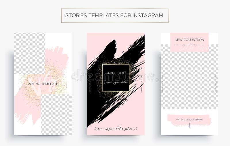 Ställ in av designmallar för berättelser av instagram stock illustrationer