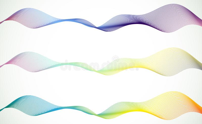 Ställ in av det abstrakta spektret buktade linjer Broschyr- och platsdesign f?rgrik wave stock illustrationer