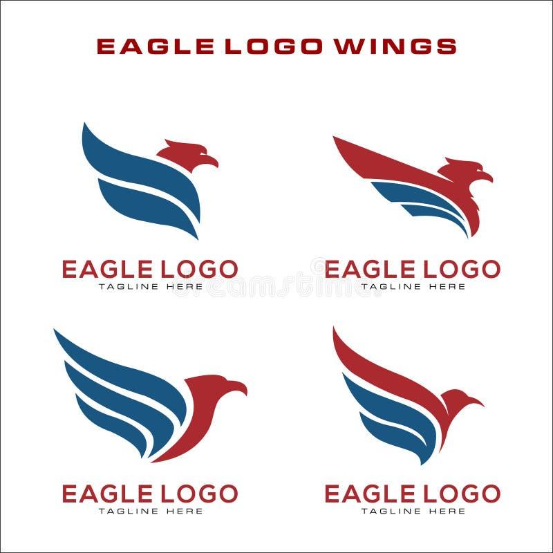 Ställ in av det Eagle Logo Vector symbolet vektor illustrationer
