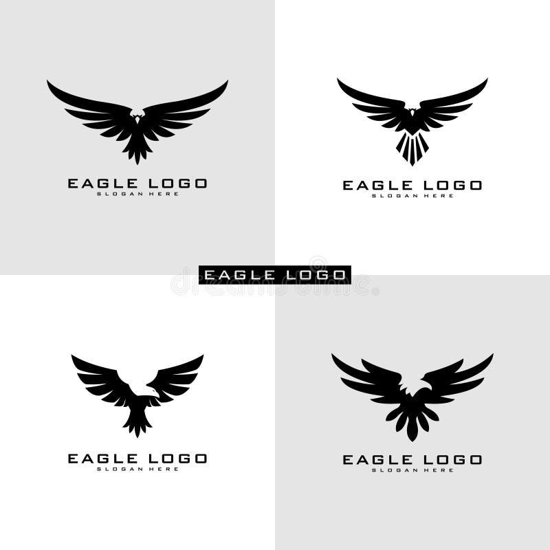 Ställ in av det Eagle Logo Vector symbolet royaltyfri illustrationer