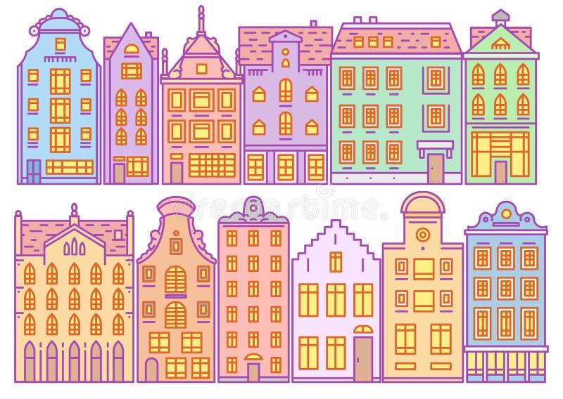 Ställ in av det Europa huset eller lägenheter Gullig arkitektur i Nederländerna Byggnad och fasader Grannskap med klassikern royaltyfri illustrationer