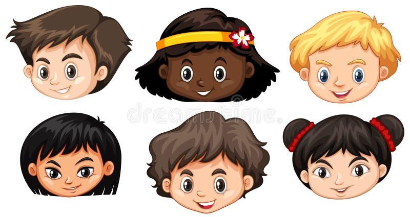 Ställ in av det mångkulturella ungehuvudet stock illustrationer