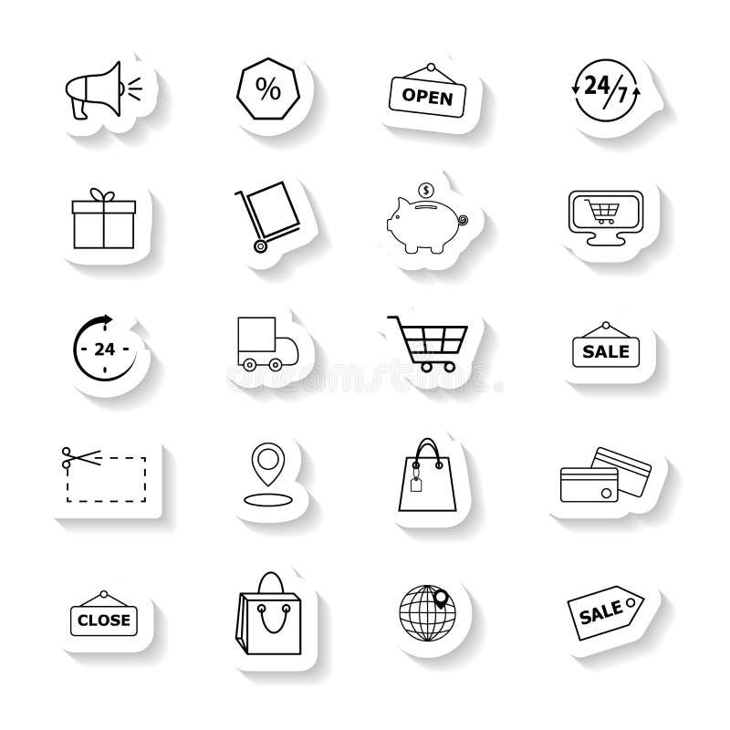 Ställ in av detaljhandelsymboler klistermärkearna royaltyfri illustrationer