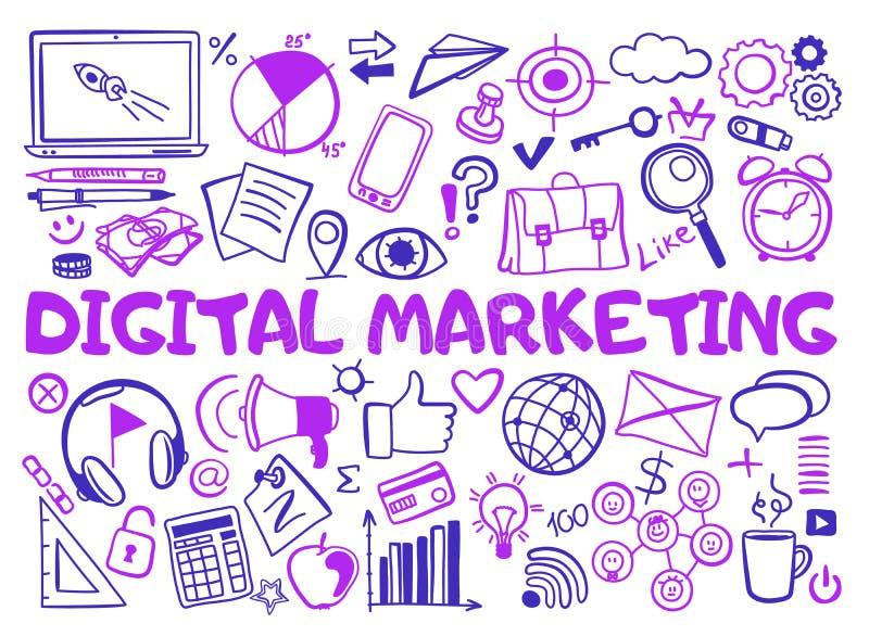 Ställ in av digitala marknadsföra symboler i klotterstil royaltyfri illustrationer