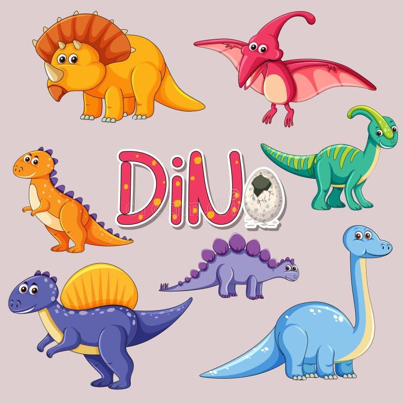Ställ in av dinosaurieklistermärke stock illustrationer